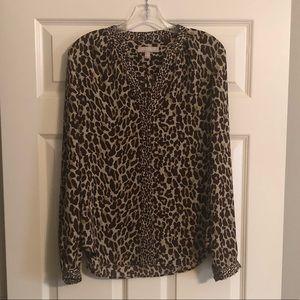 Animal print button down blouse